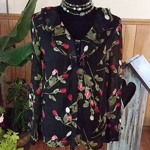 EAST 5TH SHEER FLORAL BLOUSE SZ S